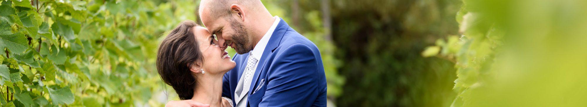 Header fotoshoot van het bruidspaar